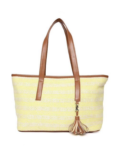Yellow-White Handcrafted Woven Cotton Jacquard Tote Bag