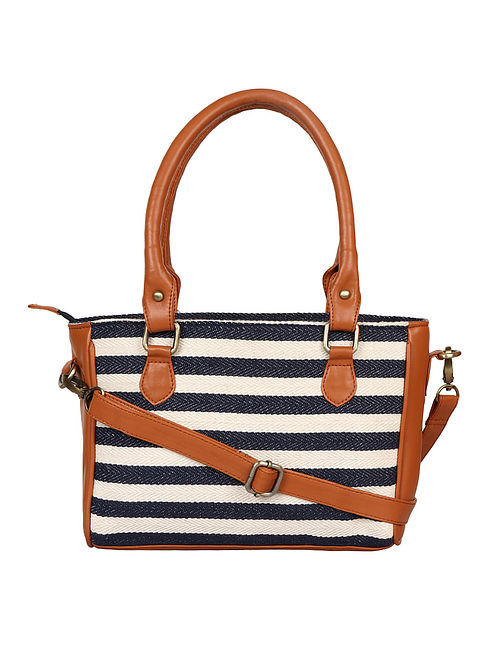 Blue-White Handcrafted Woven Cotton Jacquard Sling Bag