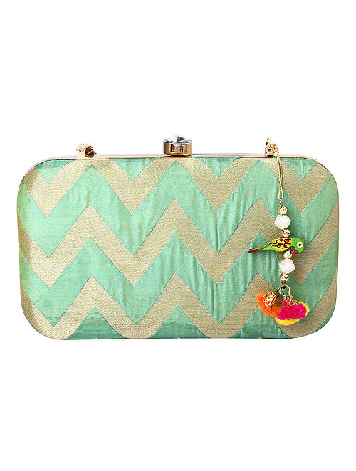 Green Gold Handcrafted Poly Silk Clutch