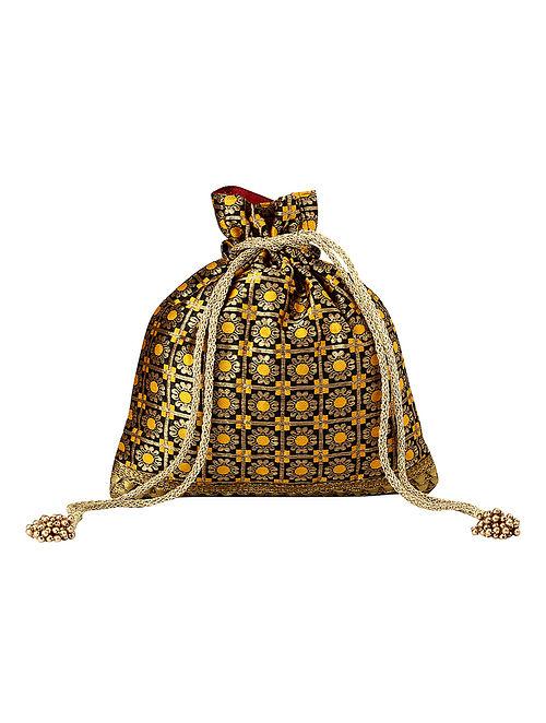 Black Yellow Handcrafted Poly Silk Potli