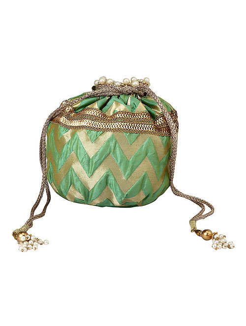Green Gold Handcrafted Poly Silk Potli