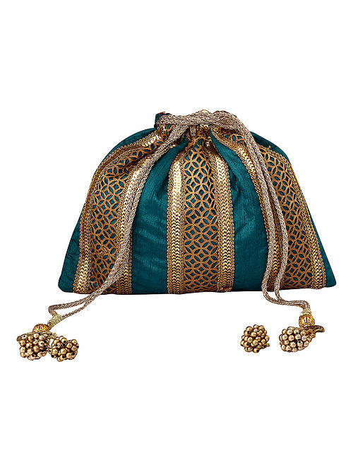 Teal Gold Handcrafted Embellished Poly Silk Potli