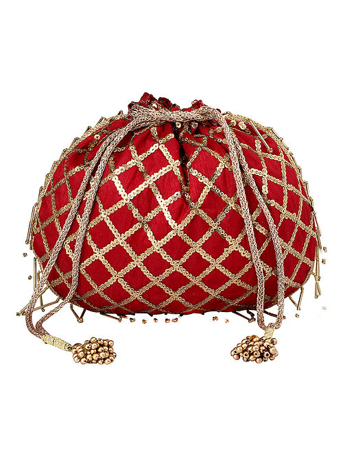 Red Gold Handcrafted Embellished Poly Silk Potli