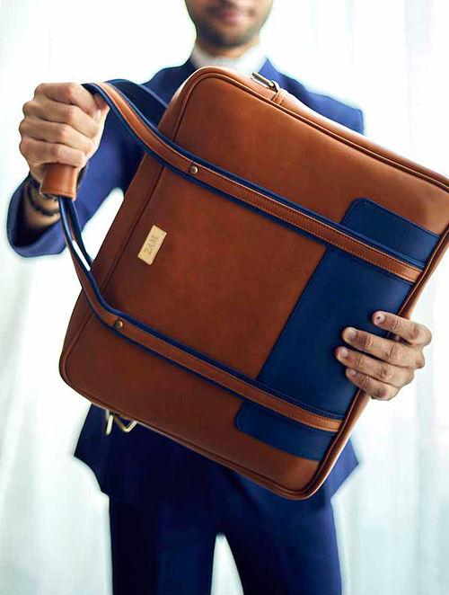 Brown-Blue Laptop Bag For Men