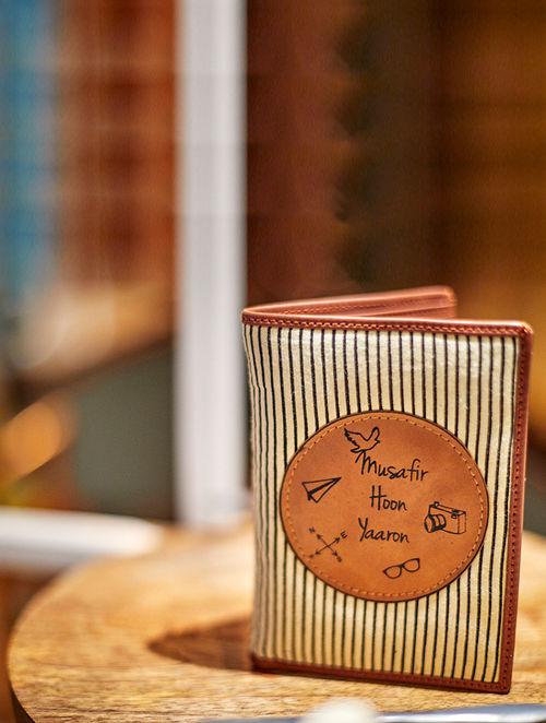 Brown-White Striped Cotton Passport Wallet