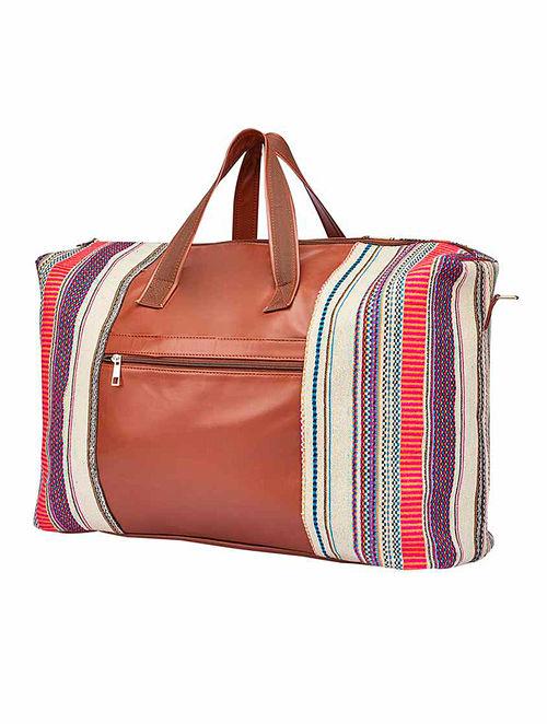 Tan-Multicolored Canvas Duffel Bag