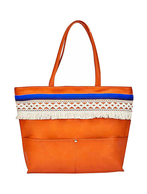 Tan-Blue Tote with Lace Embellishments
