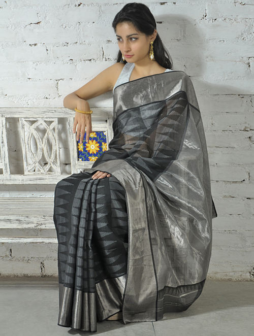 Buy Black Silver Zari Cotton Silk Saree Online At Jaypore Com