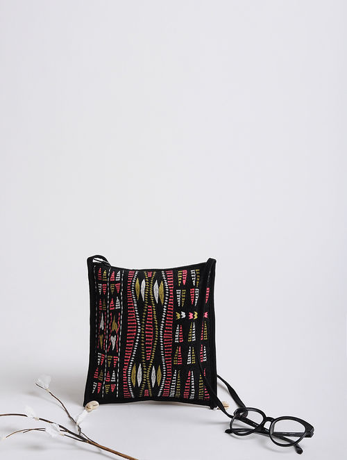Black-Multicolored Tribal Thread-Embroidered Cotton Canvas Tote