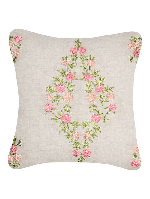 Green-Pink Embroidered Cotton Cushion Cover with Floral Motif (16in x 16in)