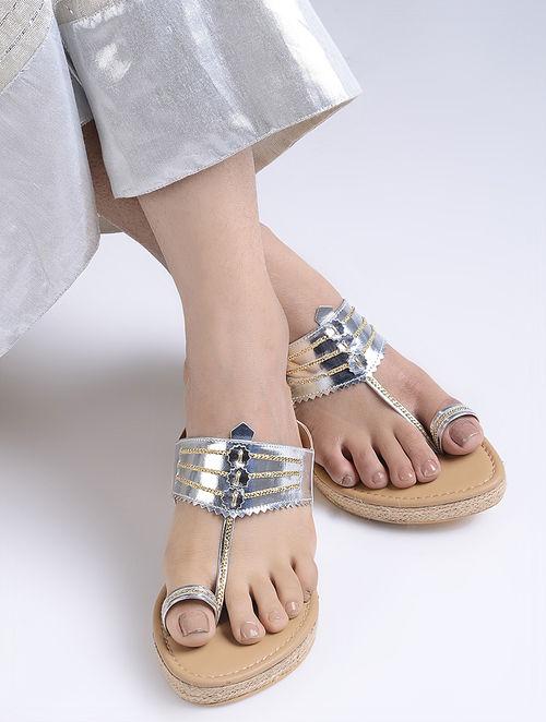 Silver Handcrafted Jute Kolhapuri Wedges