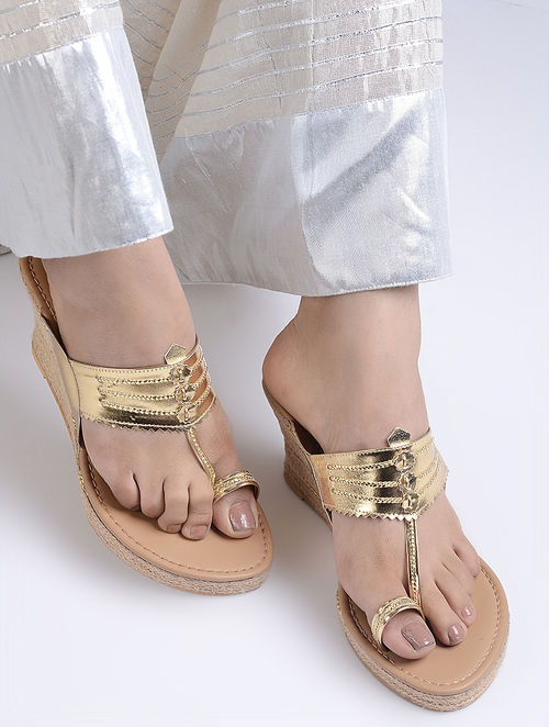 Golden Handcrafted Jute Kolhapuri Wedges