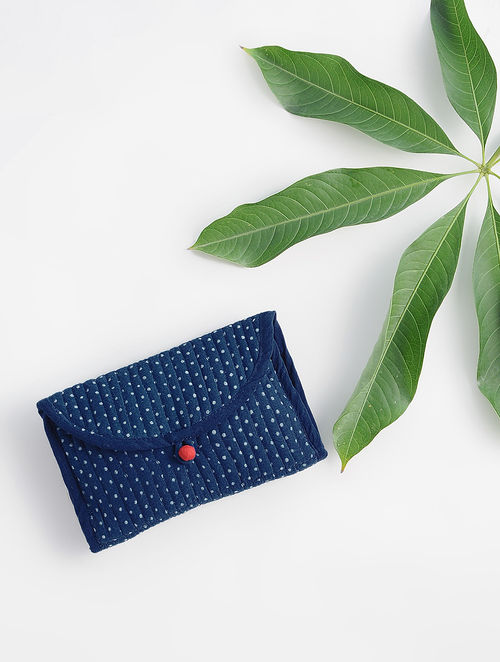 Indigo Dabu-printed Cotton Quilted Pouch
