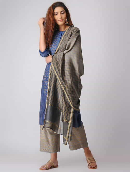 Kashish Khari-printed Ombre Chanderi Dupatta with Mukaish Work
