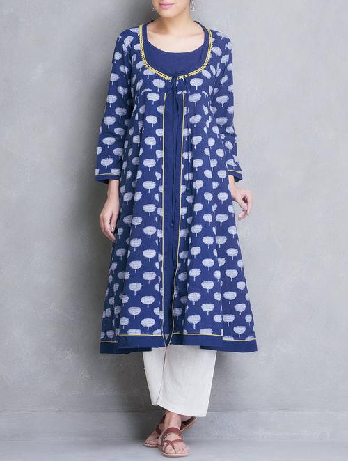 Buy Indigo Hand Block Printed Angrakha Cotton Kurta With