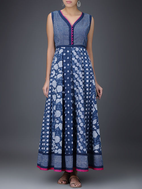 Buy Indigo White Dabu Printed Layered Cotton Dress Online