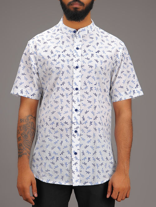 White-Blue Block-printed Mandarin Collar Half Sleeve Cotton Shirt