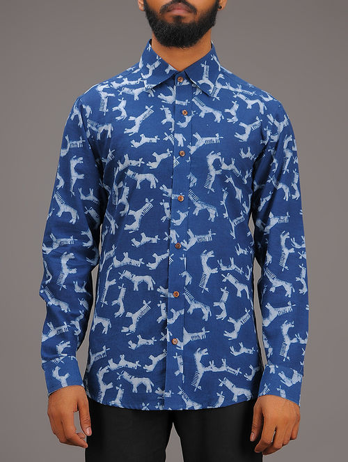 Blue-White Block-printed Collared Full Sleeve Cotton Shirt