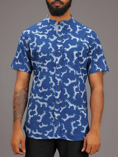 Blue-White Block-printed Mandarin Collar Half Sleeve Cotton Shirt