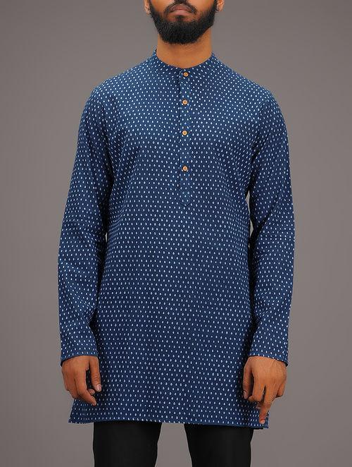 Blue-White Printed Mandarin Collar Full Sleeve Cotton Kurta