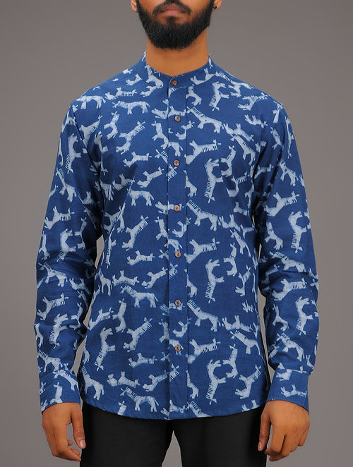Blue-White Block-printed Mandarin Collar Full Sleeve Cotton Shirt