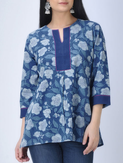 c275836f2ad72 Buy Indigo-Ivory Natural-dyed Dabu-printed Cotton Top-M Online at ...