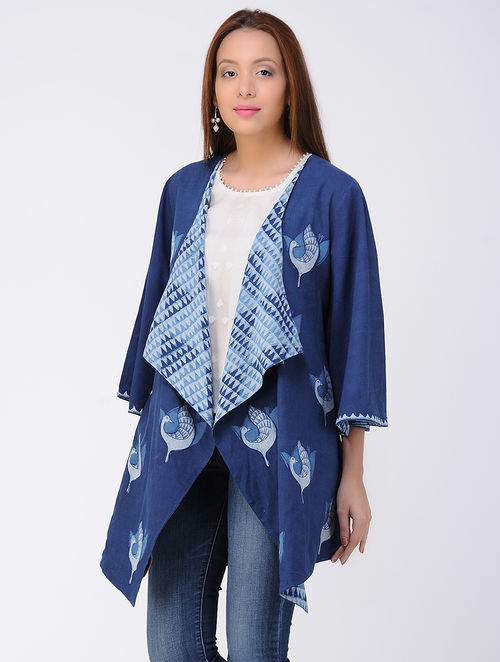 Indigo-Ivory Dabu-printed Cotton Jacket