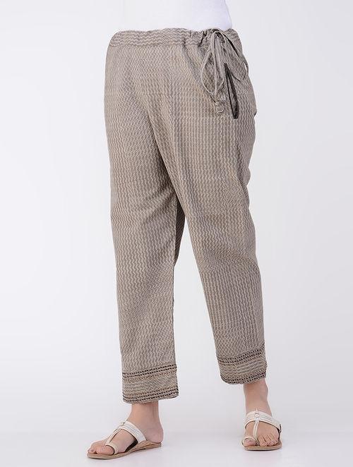Kashish Dabu-printed Tie-up Waist Cotton Pants