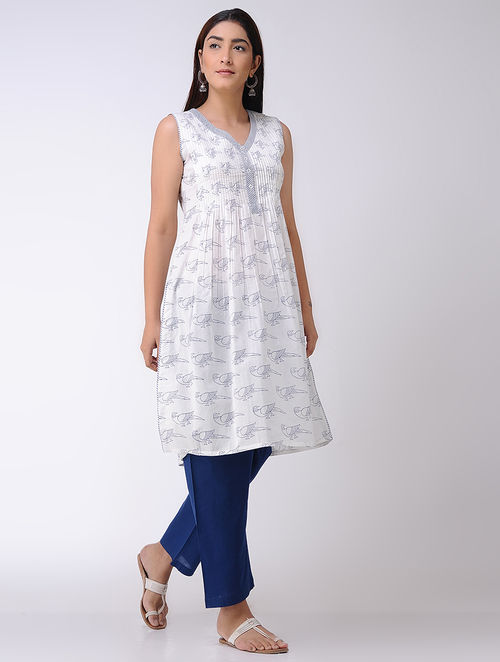 Ivory-Blue Block-printed Pleated Cotton Kurta