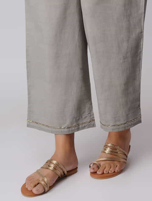 Kashish Elasticated Waist Cotton Pants with Pitten Work