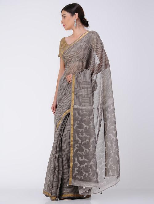 7bf39ef33c822 Kashish-Ivory Natural-dyed Dabu-printed Kota Doria Saree with Zari Border