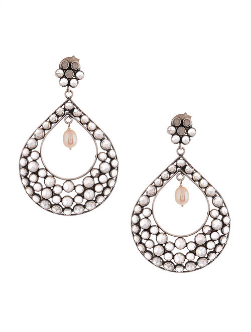 Glass Crystal Polki-inspired Silver Earrings with Pearls