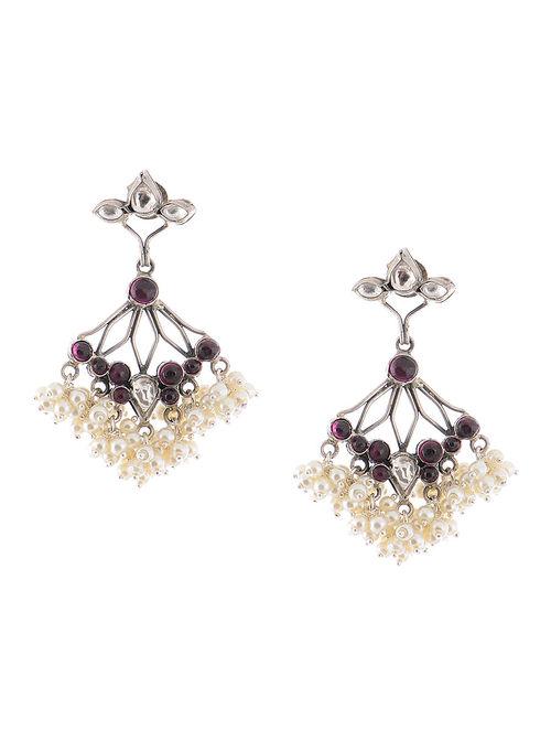 Pink Kundan-inspired Pearl Silver Earrings