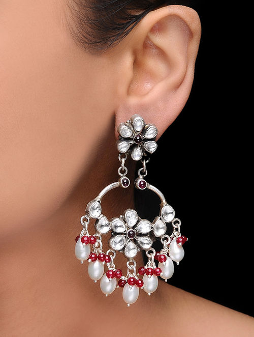 Pink Kundan-inspired Pearl Silver Earrings