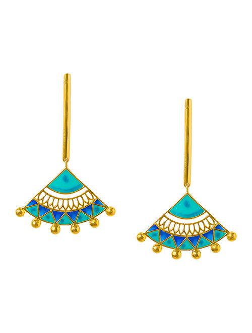 Madhubani Blue-Turquoise Enameled Gold-plated Brass Earrings