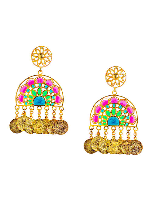 Statement Jaipur Pink-Green Enameled Gold-plated Brass Earrings