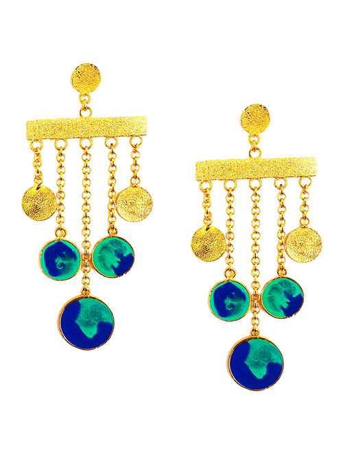 Color Carnival Blue-Green Enameled Gold-plated Brass Earrings
