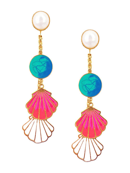 Ocean Love Blue-Pink Enameled Gold-plated Brass Earrings