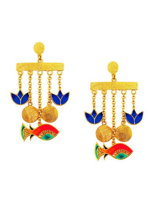 Glamorous Fish Blue-Red Enameled Gold-plated Brass Earrings