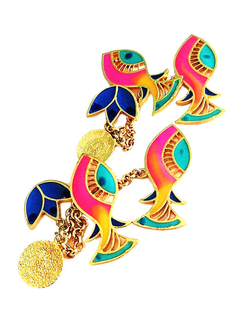 Fish Charm Blue-Pink Enameled Gold-plated Brass Earrings