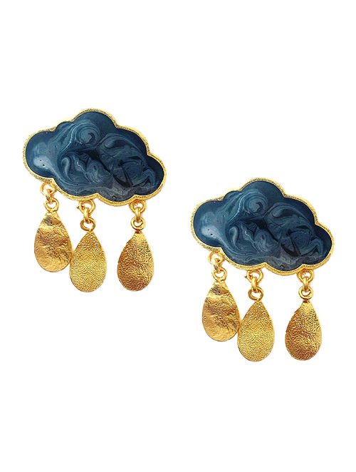 Rain Cloud Grey Enameled Gold-plated Brass Earrings