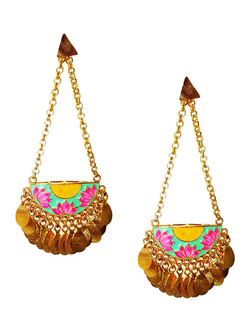 Glamorous Lotus Green-Pink Enameled Gold-plated Brass Earrings