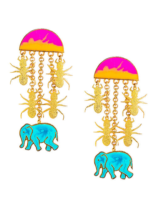 Hathi Cheeti Statement Pink-Turquoise Enameled Gold-plated Brass Earrings