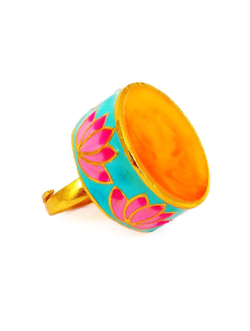 Statement Lotus Turquoise-Pink Enameled Gold-plated Brass Adjustable Ring