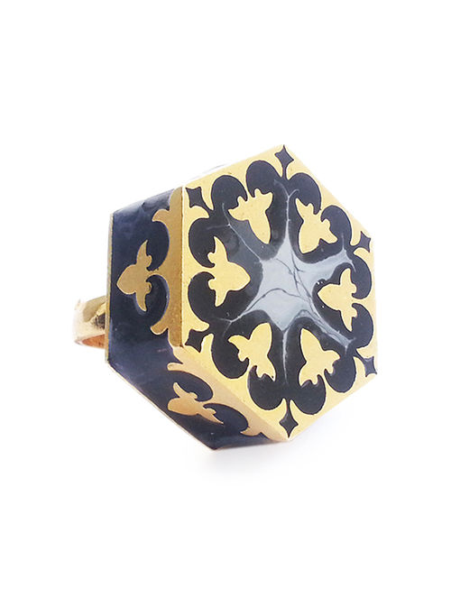 Grey Arabesque Enameled Gold-plated Brass Adjustable Ring