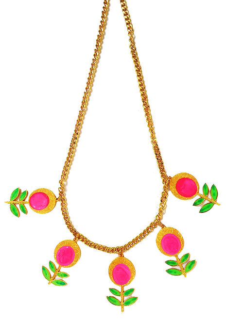 Flower in Bloom Pink-Green Enameled Gold-plated Brass Necklace