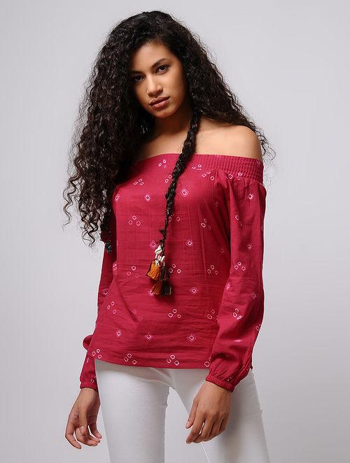 Pink-Ivory Bandhani Off-Shoulder Cotton Top with Smocking