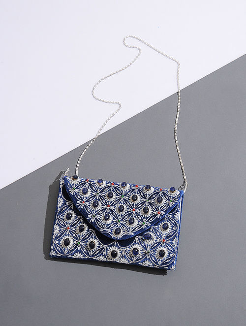 Blue Zari-Embroidered Velvet Sling Bag with Embellishments
