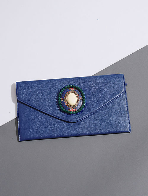Blue Handcrafted Leather Clutch with Bead Embellishments