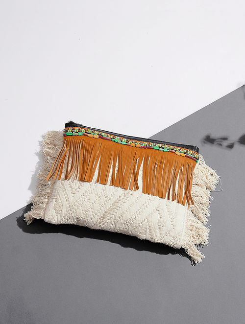 Off White-Brown Handcrafted Leather Clutch with Beads Embellishments and Fringes
